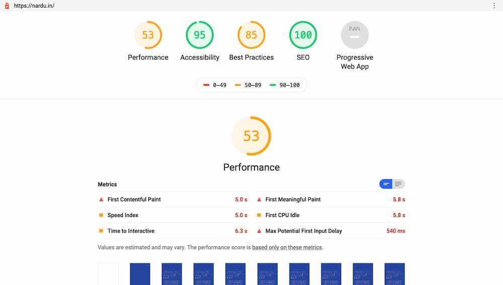 Score de performance de 53/100 sur Wordpress.